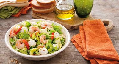 Mini mozzarella în salată de creveți - Galbani