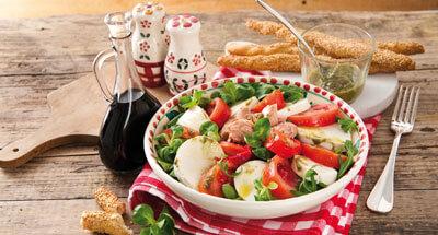 Salată de ton, mozzarella şi ardei - Galbani